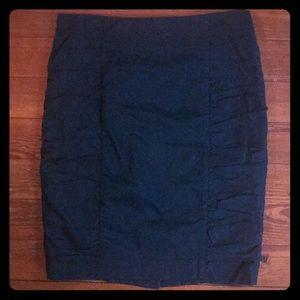 Anthropologie dark teal ruched pencil skirt